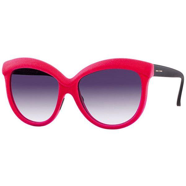 Italia Independent II 0092V I-VELVET 018/000 Sunglasses ($230) ❤ liked on Polyvore featuring accessories, eyewear, sunglasses, velvet fuchsia black, velvet glasses, italia independent, lens glasses, black glasses and velvet eyewear