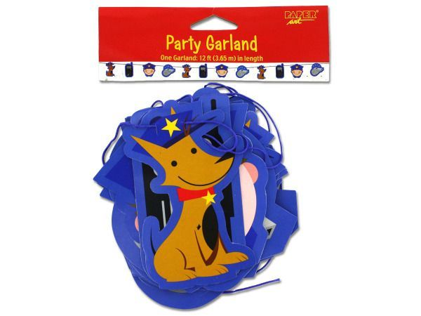 "Rescue Pals Party Garland, 48 - This darling garland is a fun and festive addition to the any ""rescue""-themed party. Includes images of police officers, police dogs and police radios. Generous 12-foot length ensures there's plenty for decorating.-Colors: brown,yellow,blue,red,pink. Material: paper. Weight: 0.1092/unit"