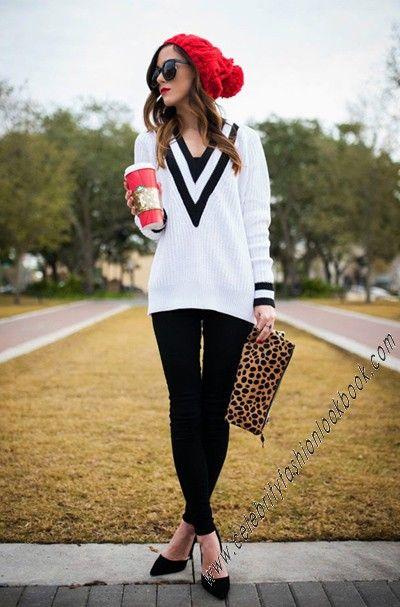 #Preppy Deep V Sweater http://celebrityfashionlookbook.com/kn117v2-preppy-deep-v-sweater.html #trendy #cute