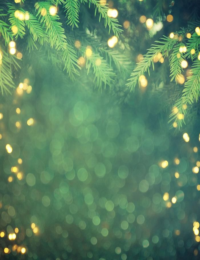 Christmas Background Portrait.Christmas Tree Branch With Golden Sparkle Photography