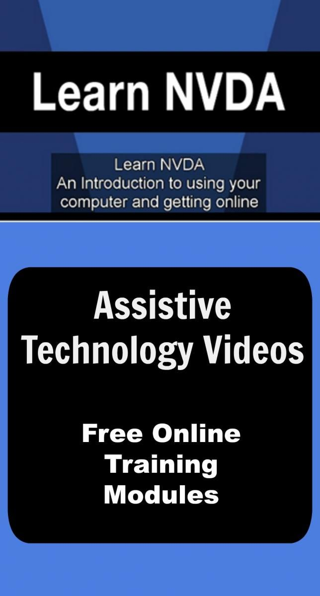 Free online training videos to teach individuals who are blind or visually impaired to use assistive technology, such as the free NVDA screenreader and Google Drive & Google Docs
