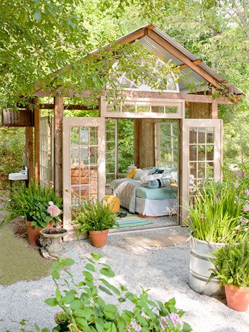 Garden retreat created out of old windows and doors!: Outdoor Rooms, Gardens Houses, Outdoor Retreat, Greenhouses, Old Window, Guest Houses, Places, Naps, Glasses Houses