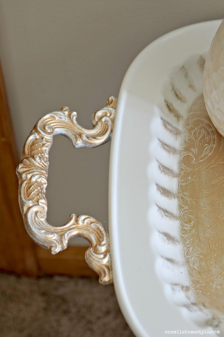 Bassett mirror company carnaby round cocktail leaf new home s - Thrift Store Decor How To Diy A Tray And A Stool Into A Gorgeous White