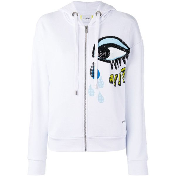 Iceberg sequins eye zip up hoodie ($221) ❤ liked on Polyvore featuring tops, hoodies, white, white hooded sweatshirt, white hoodie, zip up top, white zip up hoodie and white sequin top