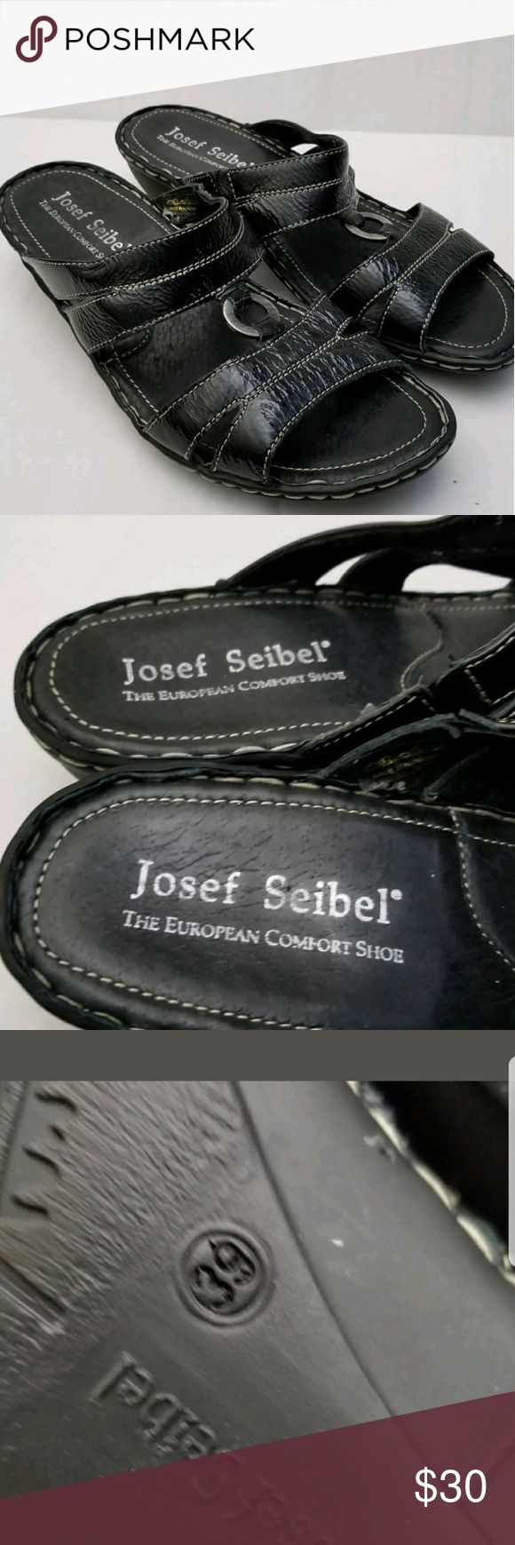 "Josef Seibel Black Leather Shoes 39 8.5 9 Sandals Josef Seibel Black Leather Sandals  Slide Slip-On  Womens Shoe Size 39 / 8.5  Non slip rubber bottoms  just under 2"" heels  Very nice clean condition  Non smoking home Josef Seibel Shoes Sandals"