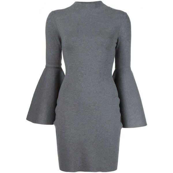 Milly Bell Sleeves Fitted Dress ($335) ❤ liked on Polyvore featuring dresses, grey, milly dresses, tight dresses, bell sleeve dress, grey dresses and fitted dresses