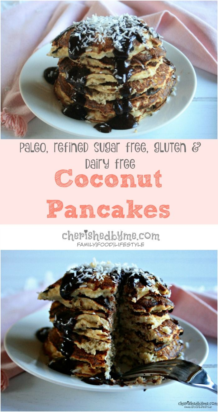 Delicious and easy to make coconut pancakes which are refined sugar free, dairy free and gluten free. Paleo friendly and packed full of protein