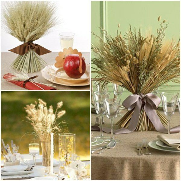 Wheat sheaves Thanksgiving table Center