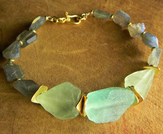 Green Fluorite Bracelet Labradorite Blue Rustic by ChrysalisToo, $78.00