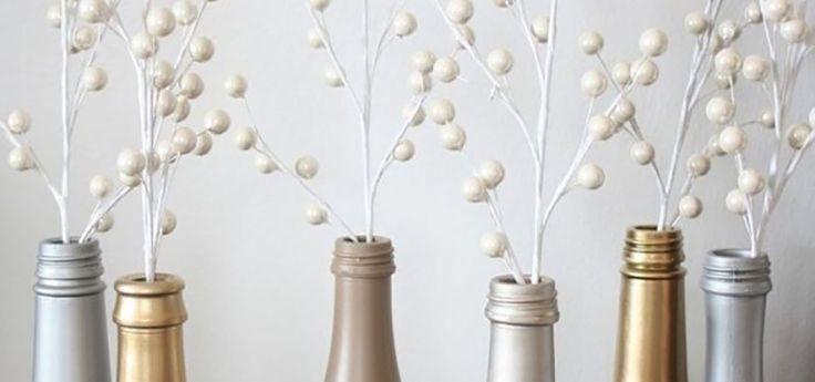 Как превратить пустые бутылки из-под шампанского в декоративные вазочки: мастер-класс