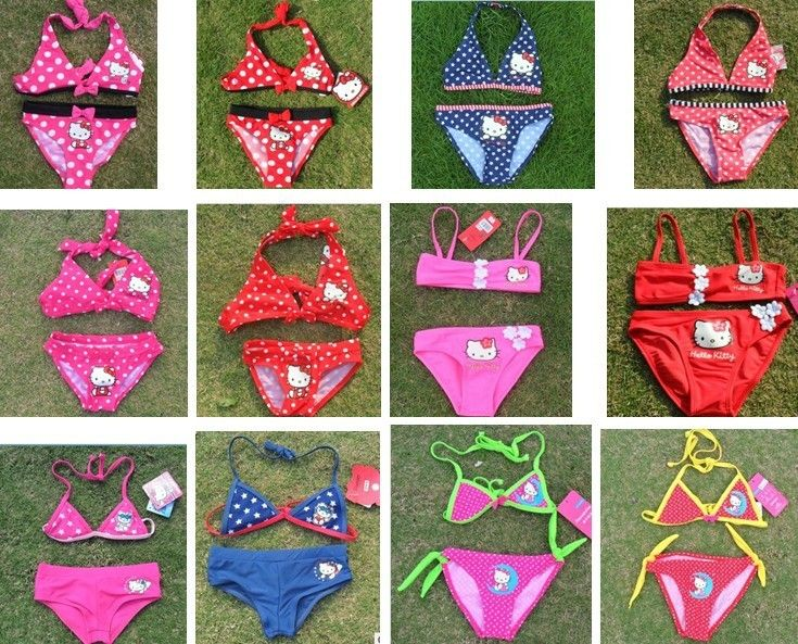 Hello Kitty baby girls swimsuits girl's bikini swimwear new design chlidren swimsuits US $9.70