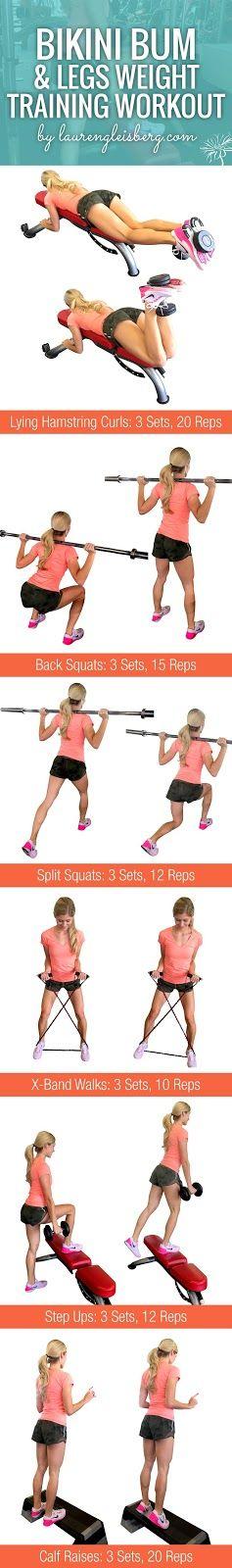 BIKINI BUM & LEG WEIGHT TRAINING WORKOUT | Click for the full ConfidenceKini Fitness Challenge by LaurenGleisberg.com