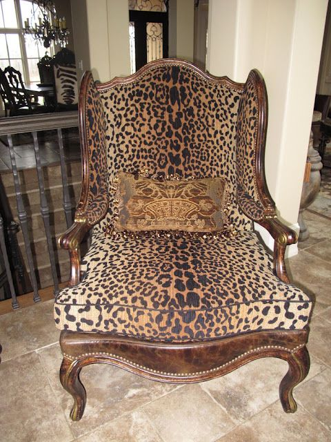 Wonderful Seville Home Leopard Print Wing Chair