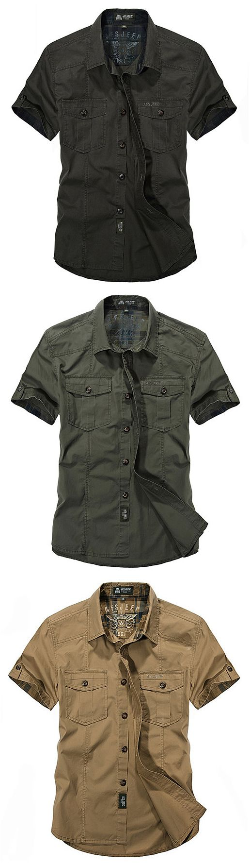 AFSJEEP Outdoor Sport Cotton Breathable Multi Pockets Cargo Short Sleeve Dress Shirts for Men