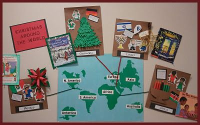 Holidays Around the World---Next year make a bulletin board map and post each classroom activity with instructions:)