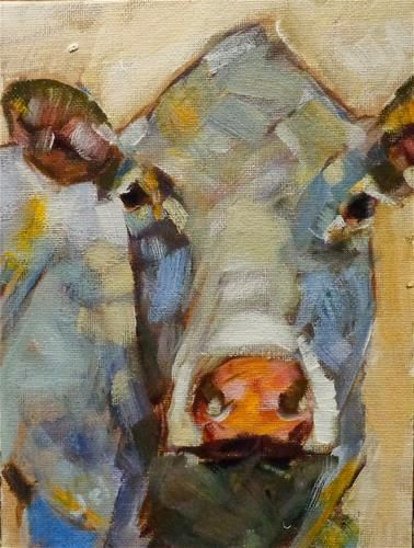 "Daily Paintworks - ""Cow 9"" - Original Fine Art for Sale - © Jean Delaney"