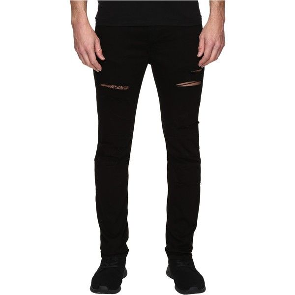Rustic Dime Shredded Biker Denim in Black (Black) Men's Jeans ($37) ❤ liked on Polyvore featuring men's fashion, men's clothing, men's jeans, black, mens denim jeans, mens zipper jeans, mens ripped jeans, mens torn jeans and mens distressed jeans