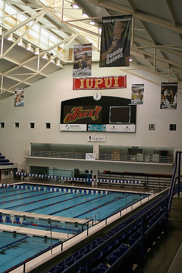 The IU Natatorium on the campus of IUPUI, Indianapolis, Indiana.