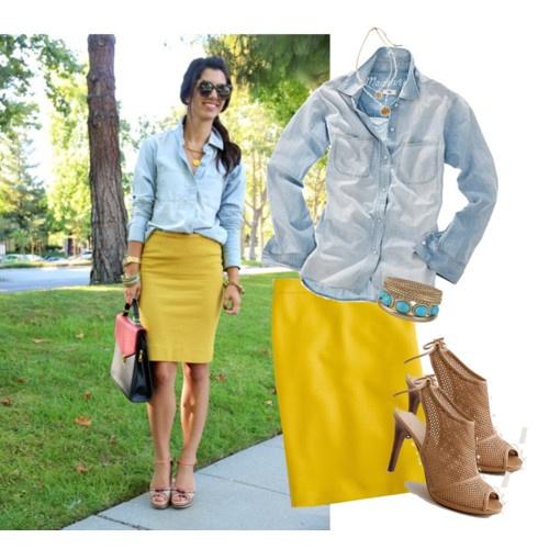 denim shirt + yellow pencil skirt + taupe heels, love this. Love jcrew's pencil skirts!