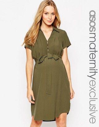 ASOS Maternity Shirt Dress With Drape Front - Shop for women's Shirt - khaki Shirt