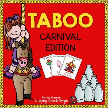 "Carnival version of TabooThis download contains:-40 Carnival themed cards suitable for game play-Cheat sheets for visual supportStudents will have fun describing vocabulary while playing this fun game. Students try to describe vocabulary while avoiding the ""taboo"" words."