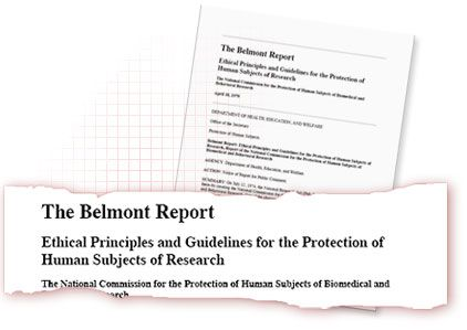 Piece of torn paper titled with text: The Belmont Report - Ethical Principles and Guidelines for the Protection of Human Subjects of Research. Piece of paper titled with text: The Belmont Report.