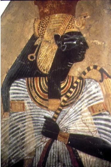 RASTAFARIAN HIGH PRIESTESS-QUEEN AHMOSE-WEARING THE VULTURE CROWN WITH DREADLOCKED HAIR AND DARK SKIN OF THE  ANU PEOPLE
