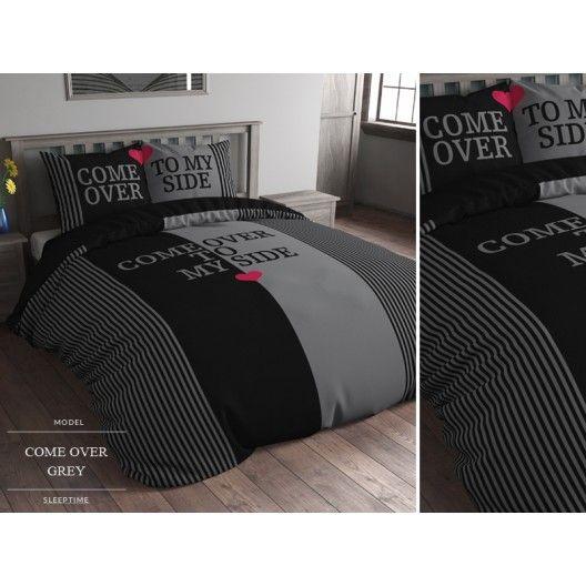 Come over to my side čierno sivé obliečky na posteľ