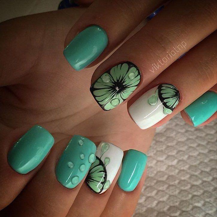 Citrus nails, July nails, Nails under mint dress