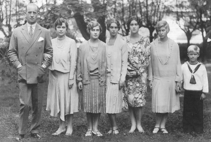 The family of Prince and Princess Andrew of Greece and Denmark, from left: Prince Andrew, Princess Alice, Princess Margarita, Princess Theodora, Princess Cecilie, Princess Sophie, Prince Philip (now Duke of Edinburgh, husband of the Queen), 1926