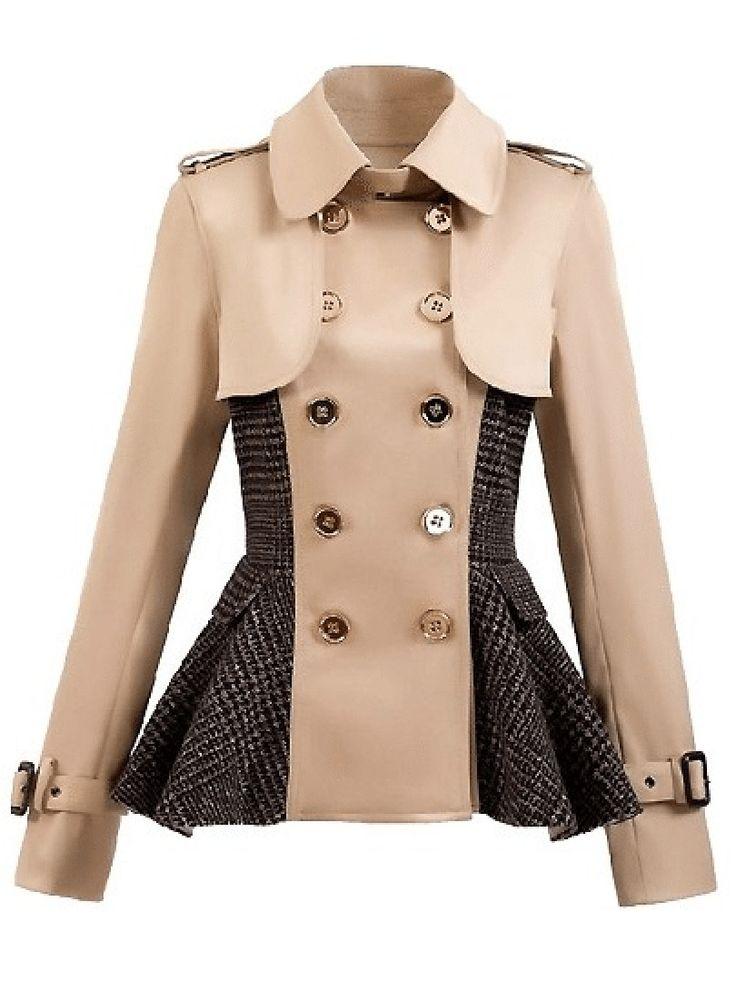 Paneled Double-breasted Peplum Coat $59.99!