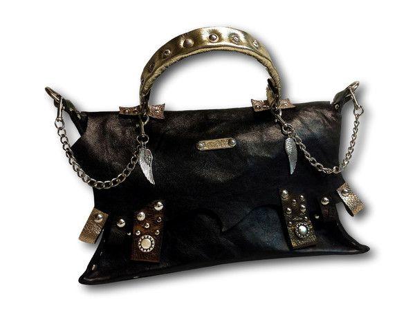Handmade leather bag (black/gold)