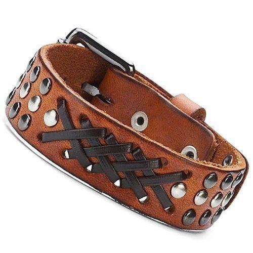 R&B Joyas - Pulsera hombre, vintage estilo desierto safari chic, clavos y hebilla de metal plateado & trenza de cuero negro, pulsera de cuero, color marrón / negro / plateado: Amazon.es: Joyería