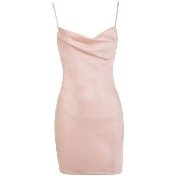'Evolve' Blush Satin Cowl Slip Dress - Mistress Rocks ($65) ❤ liked on Polyvore featuring dresses, satin slip dresses, plunge back dress, sexy cowl dress, low cut back dress and sexy dresses