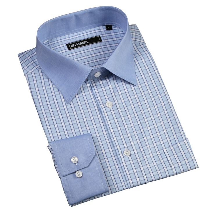 LIFE OF PI-Kentucky blue block check broadcloth shirt with blue collar and cuffs
