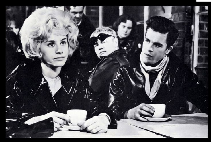"""Rita Tushingham and Colin Campbell in the iconic British film, """"The Leather Boys"""", 1964."""