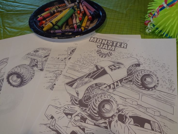 monster truck party supplies | downloaded some free coloring sheets from the Monster Jam website ...