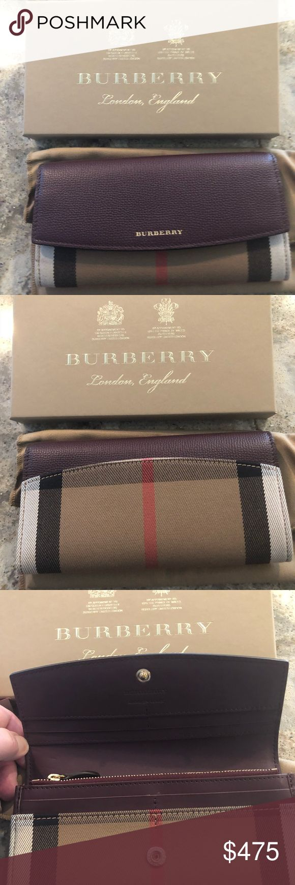 Burberry Leather Porter Continental Wallet Burberry House Check Horseshoe Leather Porter Wallet. Color is Tan & Mahogany Red.  Brand New with Tags, never used. Purchased in the Michigan Avenue store in Chicago. Comes with box, tags, dustbag & receipt. Burberry Bags Wallets