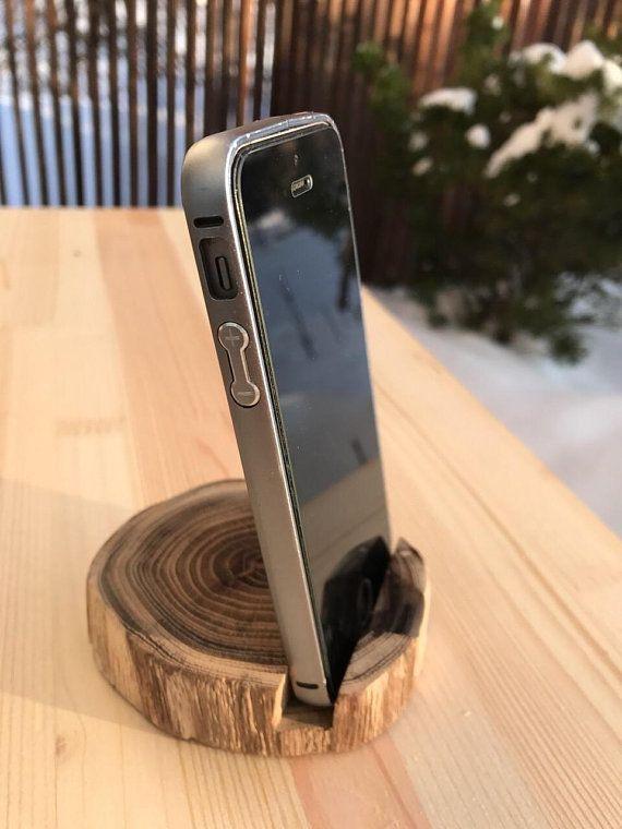 Minimalist phone stand phone and desk accessories. Card holder. Rustic desk organizer