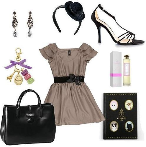Dress Miss Borsalino  Bag Longchamp  Headband Borsalino  Perfume Notte a Taif Laura Tonatto  Earrings Tataborello Officina Bijoux  Notebook Ladurée  Sandal Alessandro Oteri  Keyrings Ladurée