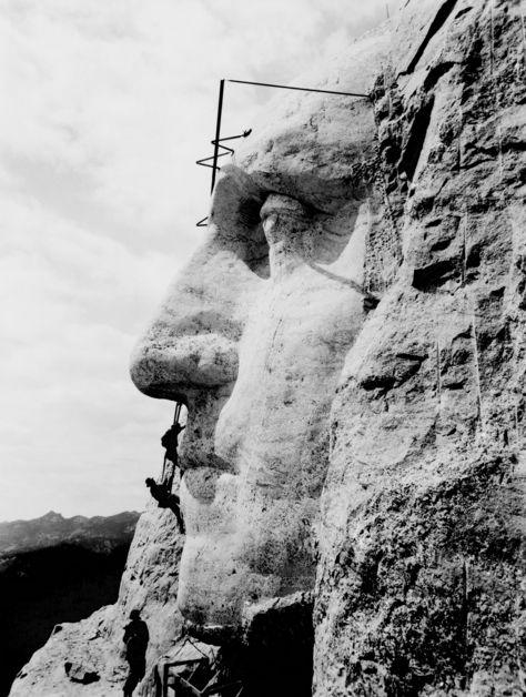 Carving George Washington into Mount Rushmore – 1932