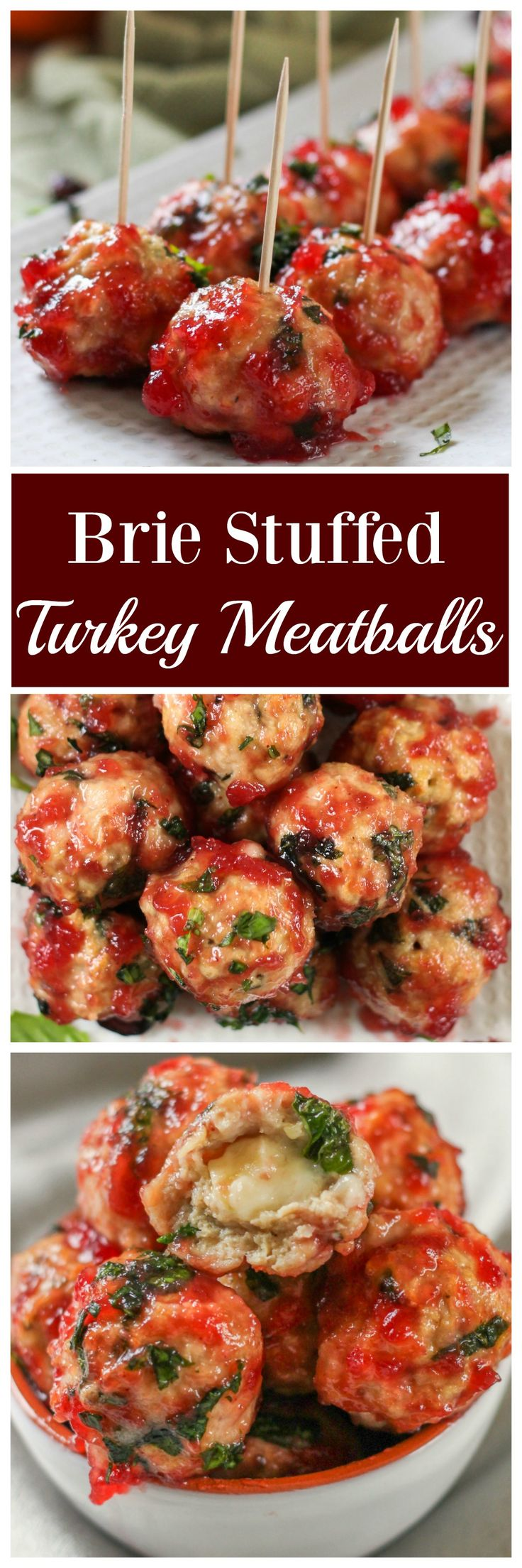 Brie Stuffed Turkey Meatballs w/ Cranberry Wine Sauce