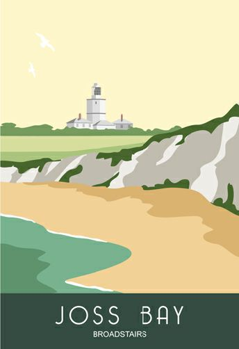 Joss Bay near Broadstairs. A great place to go surfing. North Foreland Light House. Railway Poster style Illustration by www.whiteonesugar.co.uk