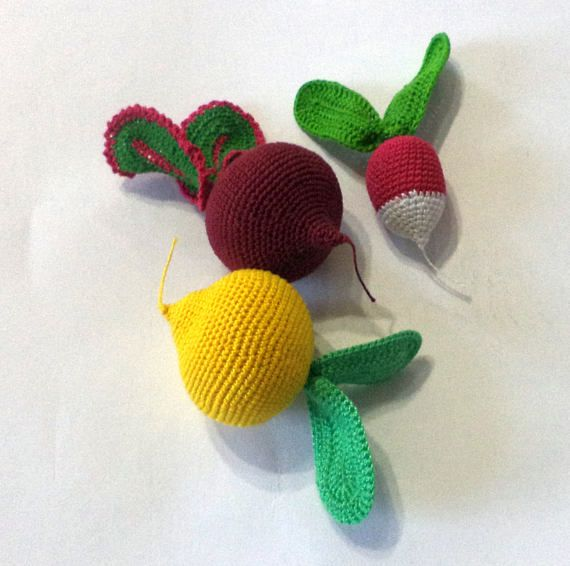 Crochet game board  3pc  Knitted vegetables and fruit