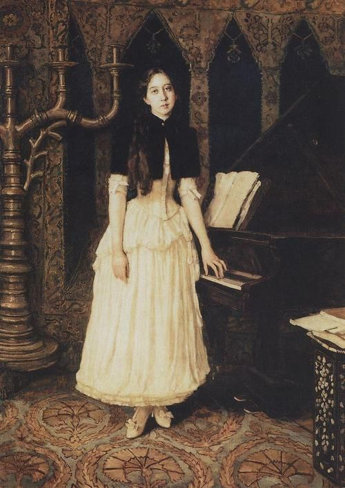 Viktor Vasnetsov - Portrait of Elena Prakhova (1894)