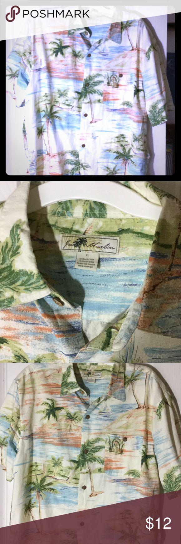 Mens Hawiian shirt XL cotton/ Rayon Joe Marlin Hawaiian style short sleeve shirt cotton rayon blend Joe Marlon beach scenes sailboats palm trees coconut buttons perfect for the summer! joe marlin Shirts Casual Button Down Shirts