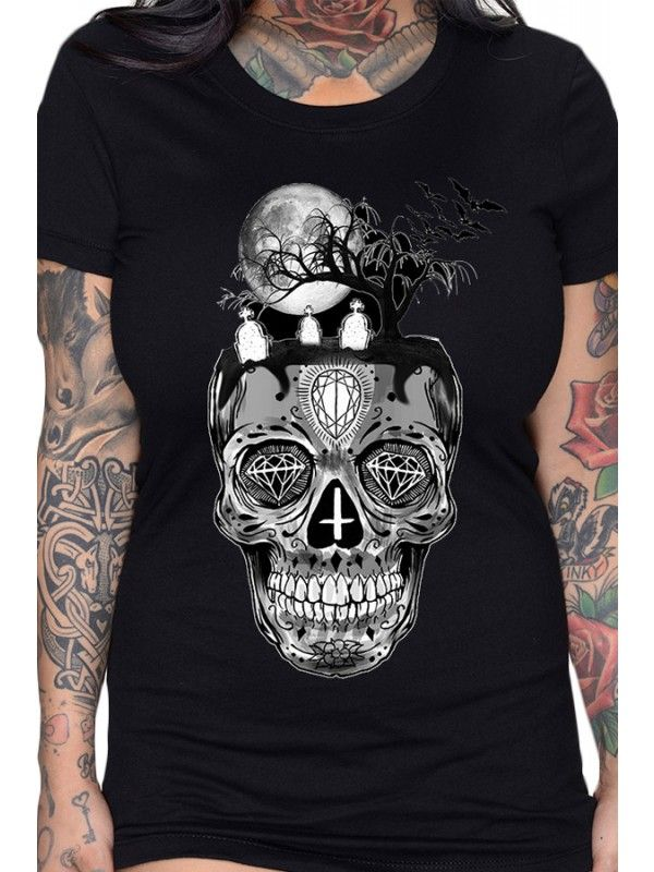 Skull Graveyard By Kevin J Fitted T-Shirt