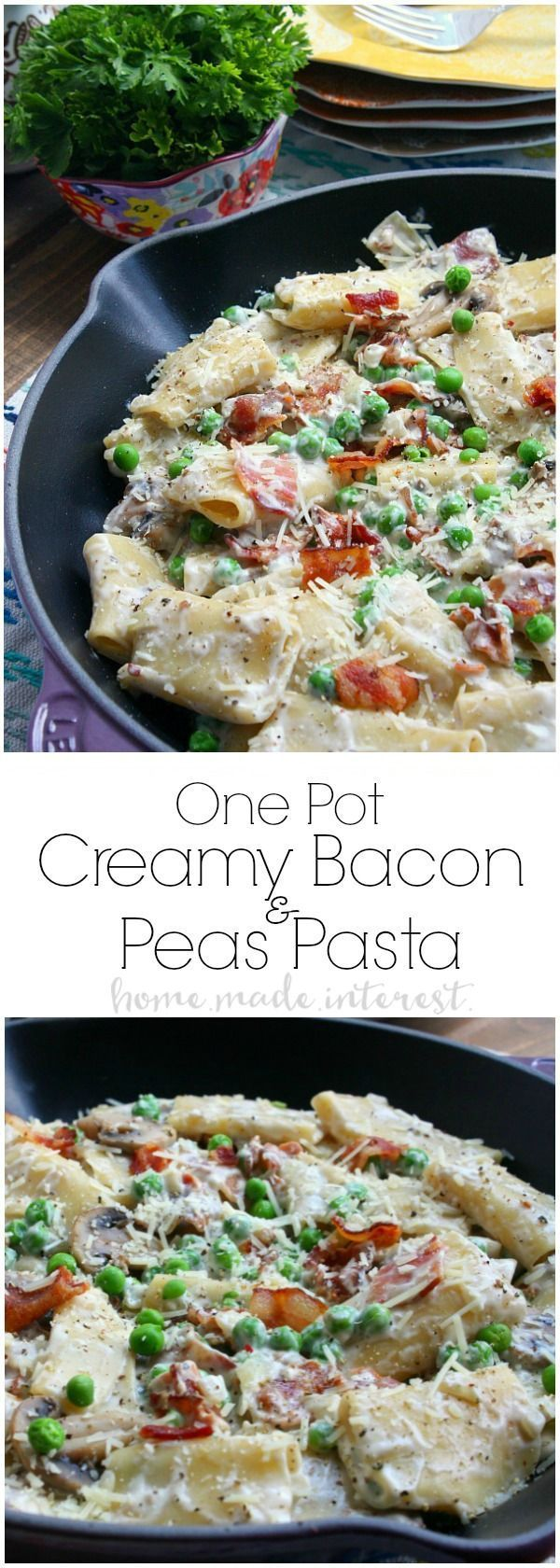 This easy One Pot Creamy Bacon and Peas takes less than 30 minutes to make! It is an easy dinner recipe that is perfect for summer when you want to spend time enjoying the sunshine and not slaving away over dinner! SmithfieldFlavor AD