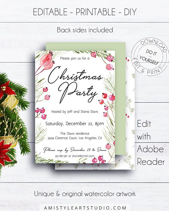 Christmas Party Invitation, with romantic watercolor christmas berries and branches.This adorable printable invitation listing is for an instant download EDITABLE PDF so you can download it right away, DIY edit and print it at home or at your local copy shop by Amistyle Art Studio on Etsy