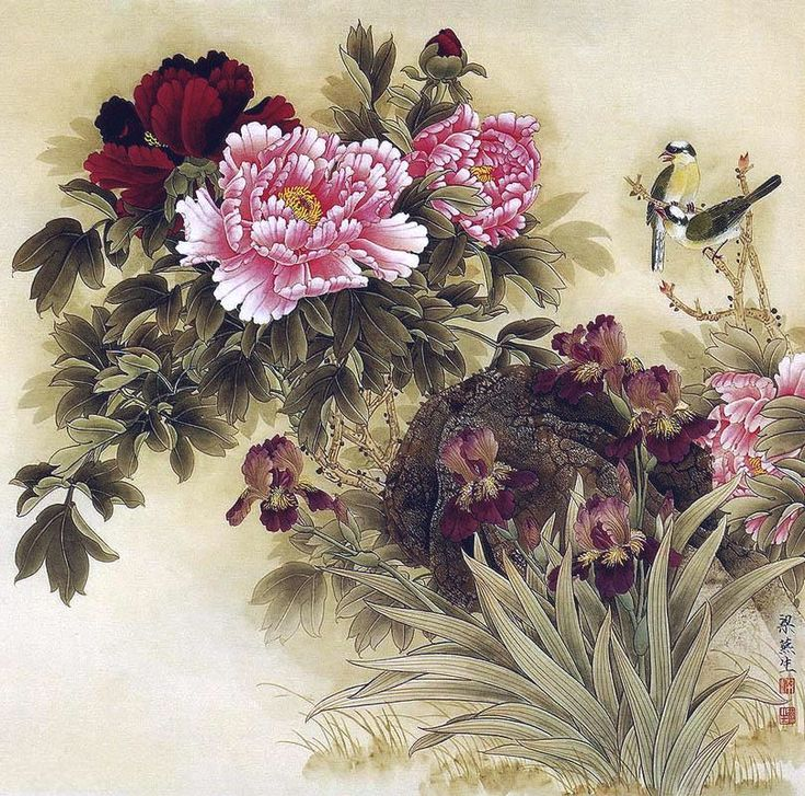Chinese Floral Silk Painting With Birds